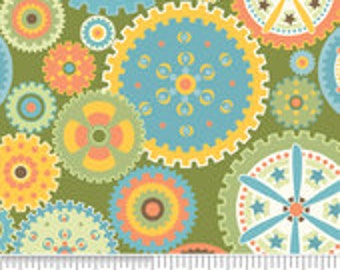 Riley Blake Designs Mod Tod Green Fabric - 1 yard