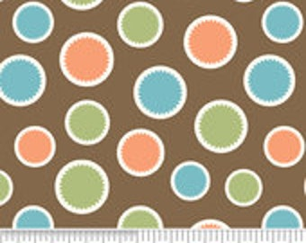 Riley Blake Designs Mod Tod Brown Dot Fabric - 1 yard