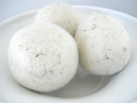 All Natural Felted Wool Dryer Balls Organic Set of Three for Laundry
