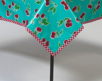 Rectangle Cherry Aqua Oilcloth Tablecloth with Red Gingham Trim