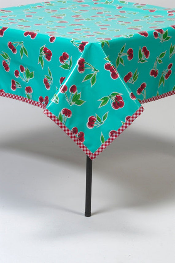 Aqua Cherry Oilcloth Tablecloth with Red Gingham Trim