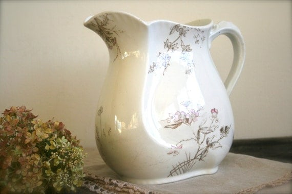 On Sale...Pretty porcelain Transferware Pitcher From England