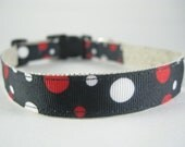 Hemp Dog Collar - Black with Red and White Dots - 3/4in