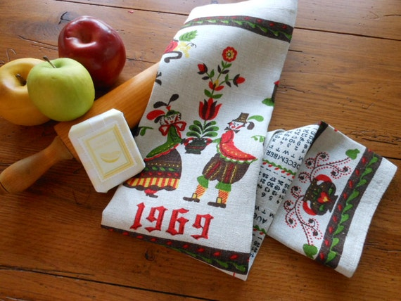 Unused 1969 Calendar Dish Towel Plus...