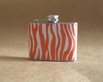Garter Flask on SALE Orange and White Zebra Print Stainless Steel 4 ounce Girly Garter Flask KR2D 3632