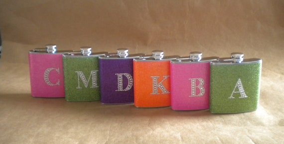 Personalized Sorority, Bachelorette, or Bridesmaids Gifts 6 ANY Color Sparkly 6 ounce Flasks ALL with Rhinestone Initials KR2D 5824