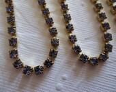 Rhinestone Chain Lavender Tanzanite ( Light Blue Purple ) Preciosa Czech Crystal 3mm in Brass Setting - Qty 1 yard