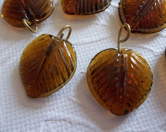 Smoke Topaz Glass Leaf Charms Beads Leaves with Brass Loops 16mm - Qty 12