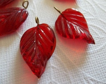 Ruby Red Glass Leaf Charms Beads Leaves with Brass Loops 24mm X 14mm - Qty 12