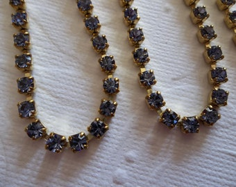 3mm Lavender Tanzanite Rhinestone Chain - Brass Setting -  Light Blue Purple Preciosa Czech Crystals