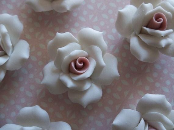 Soft Pastel White Ceramic Rose Flower Flat Back 27mm Cabochons - Qty 6