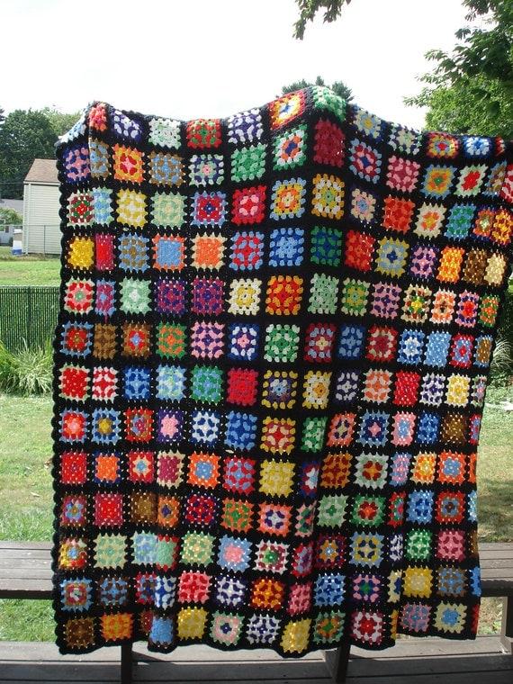 Vintage 70's Multi-colored Granny Square Blanket 79 x 82