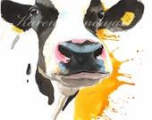 Mellow yellow  cow print, animal print, art print, farm animal print , cow painting