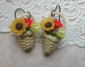 Flower Basket Earrings with Yellow Sunflower, Red Daisy and Yellow Hibiscus