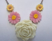 Flower Bib Necklace With White Rose, Pink Daisy and Yellow sunflower
