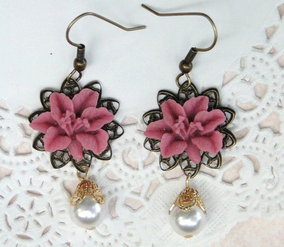Purple Pink Flower Lily or Hibiscus Dangle Earrings with Pearl Drop Charm