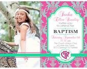 Printable Baptism Invitation with Photo, Custom LDS Baptismal Announcement, DIY Girl Pink Aqua Damask