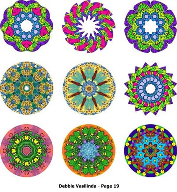 Digital JPG Files 5 Kaleidescope Sets Round Art Flowers Abstract Rainbow Colors Magnets Mixed Media Decoupage Crafts Projects