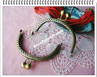 9.5cm (3.75 inch) Lace edge embossed circel shape metal purse frame (color antique brass)-1piece