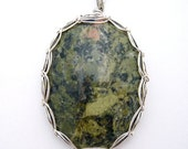 Gorgeous olive green Unakite Pendant wrapped in Sterling Silver Wire - Viking Weave Bezel - Comes with chain