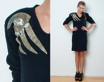 "Vintage 80s Appliqued Black Sweater Mini Dress Long Sleeves M (38""-42"" Bust)"