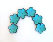 Blue cabochon flowers Leather flowers Jewelry supplies