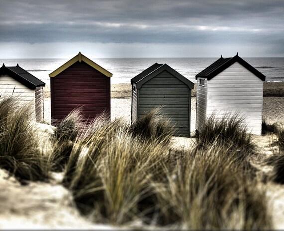 Beach Photography - Beach Huts Sea Grass - Sand Dunes Beach Grass 10x8  Photograph English Coast Summer Photo