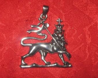 Silver Tone Ethiopian Lion Of Judah Charm Pendant Necklace