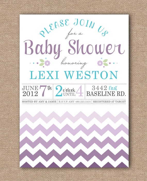 printable baby shower invitation purple ombre chevron baby by, Baby shower
