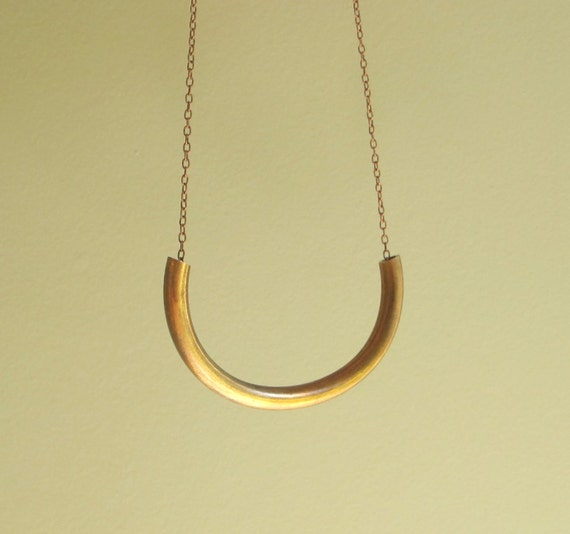 Vintage brass - cylinder tube necklace