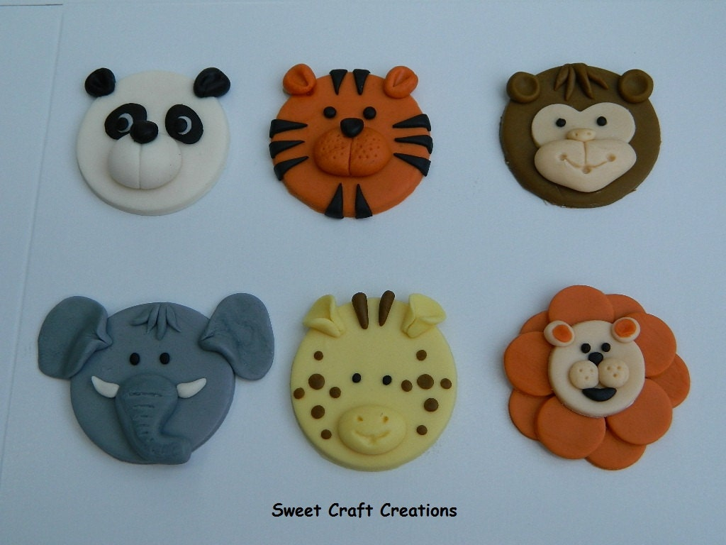 Zoo Animals Fondant Cupcake Toppers 12