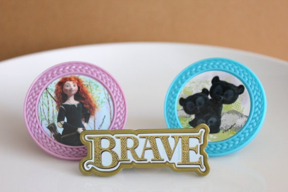 24 Brave Cupcake Topper Rings featuring Merida and Cubs
