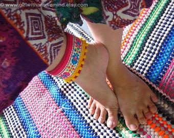 Boho Anklet Pink / Cuff Wristband -  Floral Folk Embroidery Cotton Wristlet - FREE SIZE - Adjustable to any size - Bracelet
