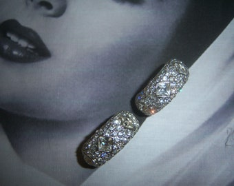Unsigned Rhinestone Hugger Earrings