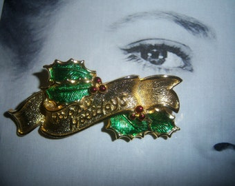 Gerry Signed Green Enamel Happy Holiday Christmas Brooch
