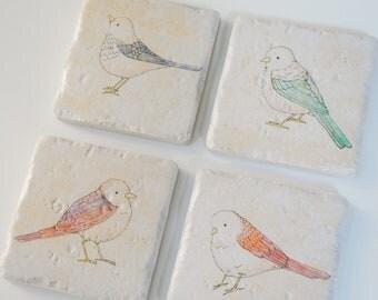 Bird coasters set of 4 Italian Stone Coasters