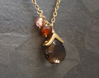 Smokey quartz pendant necklace with hessonite garnet and champagne cz