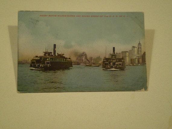orig FERRY BOATS New York Harbor 1910