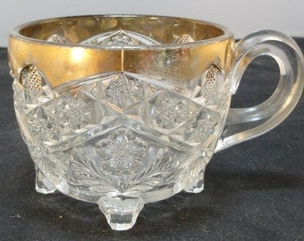 EAPG 1908 Indiana Gaelic Pattern Gold Trim Footed Punch Cup