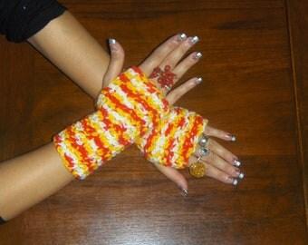 The Candy Corn boho crochet fingerless Gloves Handmade Autumn Hand & Arm Warmers Halloween Texting Gloves. whimsical multi colored bohochic