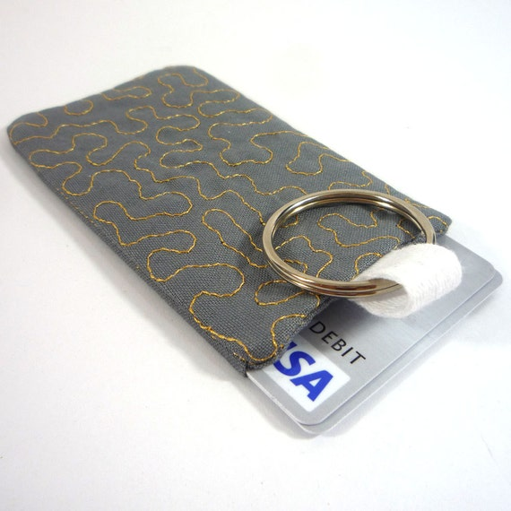Quilted keychain credit card id business card holder grey for Keychain business cards
