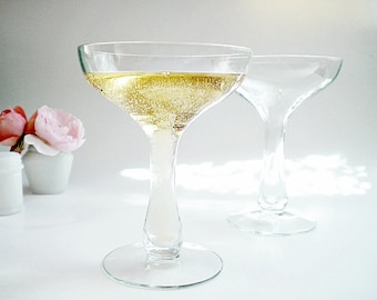 4 Hollow Stem Champagne Glasses Vintage Coupes Champagne Saucers Wedding Toasting Glasses