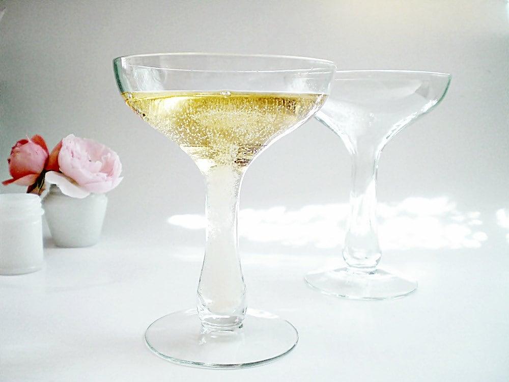 Vintage champagne glasses hollow stem wedding crystal - Champagne flutes hollow stem ...