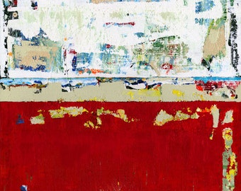 Red Abstract Landscape Art Painting Modern Canvas Giclee Ragged Glory