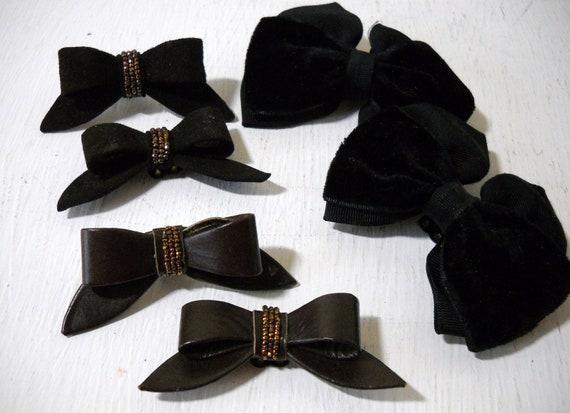 Elegant Bow Shoe Clips Black,  Brown Leather and Velvet 3 Pairs Great Collection