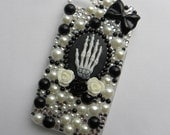 ON SALE Skeleton Hand Cameo Black & White iPhone 4 / 4S Decoden Phone Case