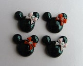 4pcs Minnie Mouse Flat Back Cabochons - Black with Red & Pink Bows