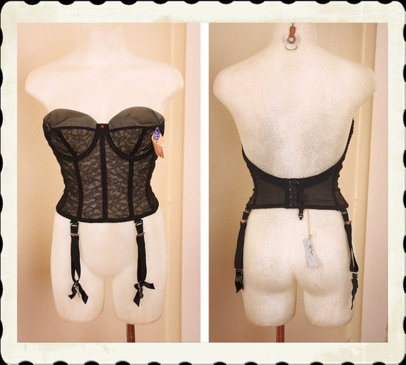 DEADSTOCK with Tags 1950's Strapless Black Lace & Sheer Nylon Bustier Long Line Bra w/ Detachable Garters by Warner's - Pinup - 34C or 34D