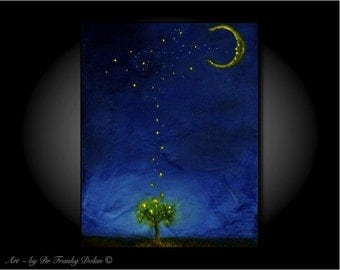 Moon Kisses. Canvas Hand Embellished Original Matted Painting-Print by Fae Factory Visionary Artist Dr Franky Dolan (Dream Wall Art Print)