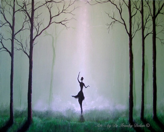The Spirit Dances. Matted Fine Art Paper Gallery Print of Original Painting by Fae Factory Visionary Artist Dr Franky Dolan (Wall Art Print)
